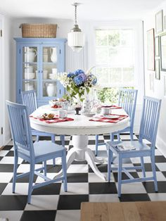 Great idea: Add a pop of color to an otherwise neutral space with painted furniture, bright table settings, and -- when spring finally comes! Aubs love this coloring for dining room Home Interior, Interior Design, Interior Colors, Sweet Home, Muebles Living, Decor Room, Home Living, Beach House Decor, Cottage Style