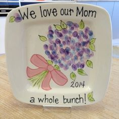 """We Love Our Mom A Whole Bunch"" Fingerprint Plate"