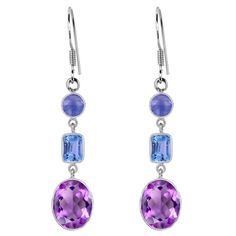 Orchid Jewelry 925 Sterling Silver 12 Carat Amethyst, Topaz and Tanzanite Dangle Earrings