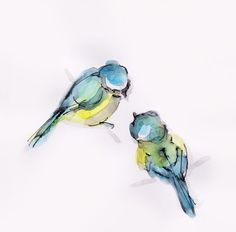 ARTFINDER: Two blue tits by Becca Alaway - Two blue tits resting...  A collection of bird paintings using a loose ink and watercolour wash technique. Signed on the front and back. Each piece is on 2...