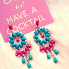 pink and turquoise earrings $26