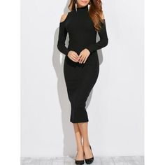 Turtleneck Cold Shoulder Bodycon Dress
