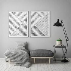 This very minimalistic black and white 2 piece poster set depict thinner and thicker slant lines in diagonal position. The very idea hiding behind these posters lies within the symmetry, order, and balance.These monochromatic abstract forms would make you Black And White Lines, White Art, White Interior Design, Scandinavian Art, Contemporary Wall Art, Geometric Lines, My New Room, Wall Art Prints, Home Decor