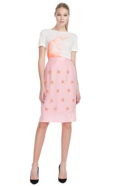 """The model looks as confused as I am... Moda Operandi actually called the color of the cat on the shirt """"coralish"""". I guess it's sort of coral but not really??"""