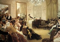 """La Belle Époque (1871-1914) is a period in French history during which absinthe served as inspiration to many artists. In this painting James Tissot's """"Hush!"""" (c.1875) depicts an elegant French salon."""