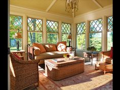 Traditional Porch with Screened porch, Anderson Windows 400 Series Woodwright Double-Hung Window with Diamond Grille Pattern Style At Home, Brown Furniture, Outdoor Furniture Sets, Sunroom Decorating, Decorating Ideas, Sunroom Ideas, Porch Ideas, Cottage Porch, Garden Cottage