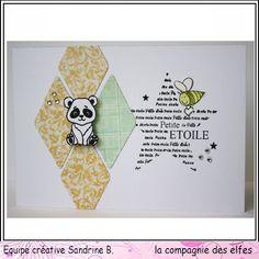 Tampons La compagnie des elfes. Carte naissance, carde bienvenue. Tampon petite étoile. #panda #star