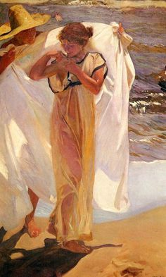 Saliendo del bano (Leaving the Bath) Painting by Joaquin Sorolla y Bastida. Spanish Painters, Spanish Artists, Vincent Van Gogh, Most Famous Paintings, Classic Paintings, Art Through The Ages, Oil Painting Reproductions, Figurative Art, Oeuvre D'art