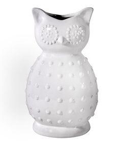 13'' White Ceramic Owl Vase