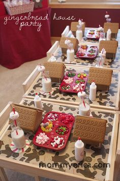 Fun ideas for hosting a Gingerbread House Party. www.mommyerica.com