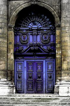 Blue baroque door St. Paul, France""