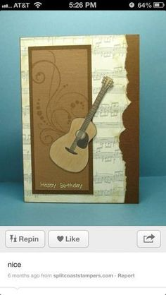 Musical Birthday by Cindy H. - Cards and Paper Crafts at Musical Birthday by Cindy H. - Cards and Paper Crafts at Splitcoaststampers Bday Cards, Birthday Cards For Men, Handmade Birthday Cards, Men Birthday, Birthday Ideas, Tarjetas Stampin Up, Stampin Up Cards, Masculine Birthday Cards, Masculine Cards