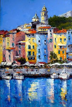 Porto Venere Italy by james pratt Oil ~ 36 x 24 Small Canvas Paintings, Seascape Paintings, Oil Painting Abstract, Landscape Paintings, Landscape Photos, Abstract Landscape, Italian Paintings, City Painting, City Art