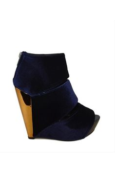 Blue velvet wedges