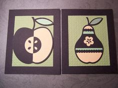 Set of 8 Note Cards Fruit Bowl embossed textured paper piecing handmade cards