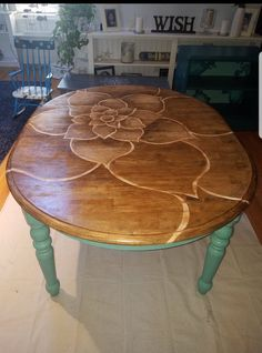 Refurbished Coffee Tables, Dining Table Makeover, Coffee Table Makeover, Painted Coffee Tables, Redone Coffee Table, Painted Dining Room Table, Painted Table Tops, Hand Painted, Painted Wood