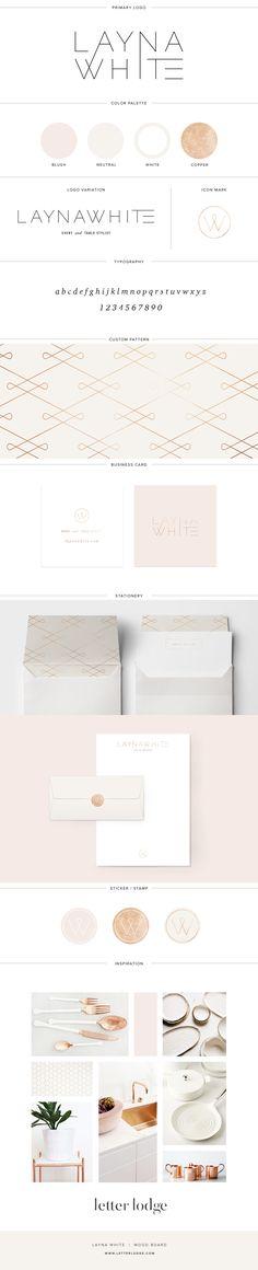 Layna White — Letter Lodge | Layna White — Letter Lodge | Brand Board | Modern Logo Design Brand Board | Event Stylist Tablescape Gold Foil Copper Simple Modern Minimal Lifestyle Blogger Photographer