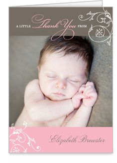 Sweet way to say thank you to well wishers after baby is born.  Vintage Volute 3x5 Folded Card by Stacy Claire Boyd
