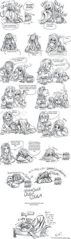 Raistlin and Caramon: A Bit Too Much by Kabudragon.deviantart.com on @DeviantArt