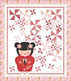 ~free pattern ~ Princess Aiko by Wendy Sheppard | Ivory Spring for Benartex.  The doll is from a panel print, the background is made of pinwheels.