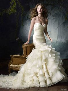 Lazaro Bridal Gowns, Wedding Dresses: Style LZ3050 Ivory silk satin organza flamenco bridal gown, sweetheart neckline, elongated draped bodice, flamenco ruffle pleated skirt, chapel train.