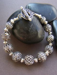 Classic beauty with so much elegance! A gorgeous mix of large ornate Bali sterling silver beads create a timeless bracelet. I strung lots of