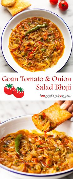 Authentic Goan recipe for a traditional breakfast of Tomato and Onion Salad bhaji found across all local homes and restaurants. Served with pao and a side of chao (chai/tea) Goan Recipes, Vegetable Recipes, Gourmet Recipes, Indian Food Recipes, Vegetarian Recipes, Cooking Recipes, Seafood Recipes, Tomato And Onion Salad, Grilled Peach Salad