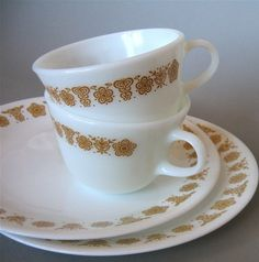 Butterfly gold Corelle dishes...I still have bowls and a few tea saucers in this pattern!