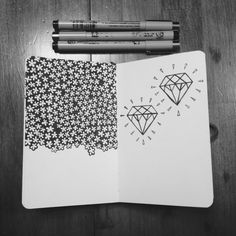 Flowers and Diamonds. Done on a moleskine sketchbook, with micron pens. :)