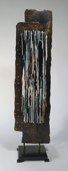 Custom Made Rectangle Fused Glass and Metal Sculpture by Bonnie M. Hinz