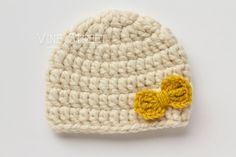 cream baby girl hat with mustard bow // vine street goods