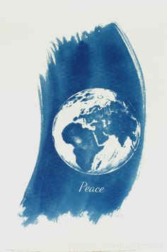 Beato Wigger - Cyanotypie Karte Peace on Earth Peace On Earth, Waves, Artwork, Prints, Craft Items, Card Stock, Handarbeit, Work Of Art, Auguste Rodin Artwork