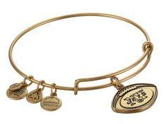 Alex and Ani New York Jets Football Charm Bangle (Rafaelian Gold Finish) Bracelet