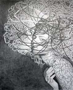 Anna Rączka,,My insomnia'' Drawing on paper Fantasy Hair, Insomnia, How To Fall Asleep, Anna, Black And White, Drawings, Polish, Artists, Paper