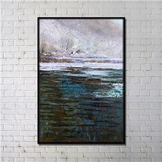 Leinwandbild Abstrakt See im Winter Digitaldruck mit Schwarze Rahme