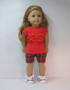 18 Inch Doll Clothes American Girl Doll Clothes Plaid Shorts Set. $26.00, via terristouch on Etsy