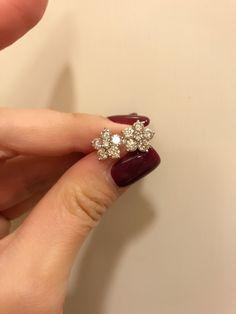 Simple elegant diamond flower studs