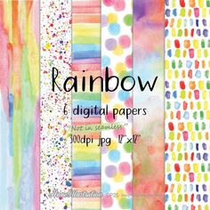 Watercolor rainbow digital papersNot in seamless   Etsy Digital Scrapbook Paper, Digital Papers, Simple Collage, Coloring Book Pages, Embroidery Files, Collage Sheet, Clipart, Handmade Crafts, Graphic Illustration