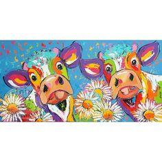 """Handgeschilderd schilderij """" Koeien tussen de bloemen """" Formaat 200 x 100"""
