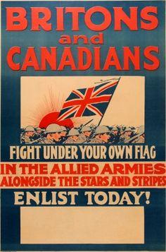 Britons Canadians Enlist WWI 1910s - original antique World War One poster listed on AntikBar.co.uk