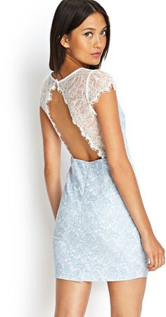 Long sleeve lace skater dress ~ Dresses for Women Light Blue Lace Dress, White Lace Dress Short, Lace Sheath Dress, Pretty Outfits, Designer Dresses, Clothes, Forever 21, Women, Homecoming