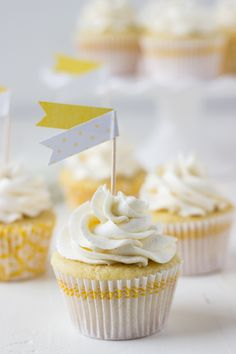 These sweet and citrus-y meyer lemon rosemary cupcakes are a great way to spring into spring. Cupcake Recipes, Cupcake Cakes, Dessert Recipes, Baking Recipes, Meyer Lemon Recipes, Citrus Recipes, Muffins, Lemon Cupcakes, Spring Cupcakes