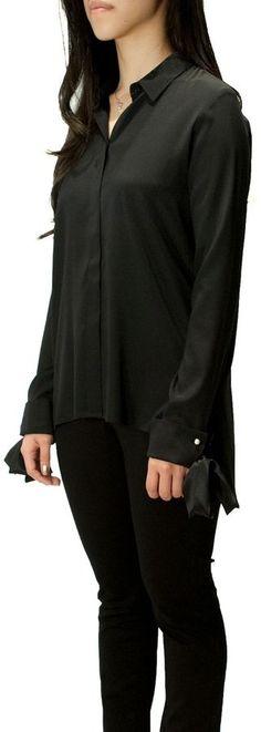 Max Volmary Silk Bow-Sleeve Blouse
