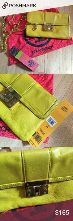 Tory Burch Purse Lemon yellow Norah Flap Envelope, Dust bag, removable shoulder strap, Great condition, minimal wear Tory Burch Bags Shoulder Bags