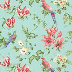 I pinned this Tropical Bird Wallpaper in Light Blue from the Seaside Chic Wallpaper event at Joss and Main!