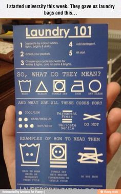"""Laundry """"I started university this week. They gave us laundry bags and this."""