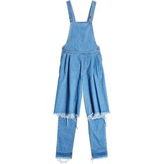 Ksenia Schnaider Distressed Denim Dungarees ($410) ❤ liked on Polyvore featuring jumpsuits, blue, pleated jumpsuit and blue jumpsuit
