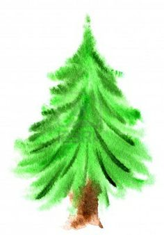 Watercolor Christmas tree isolated on a white background Stock Photo