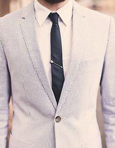 Arrow Tie-Clip and seersucker jacket