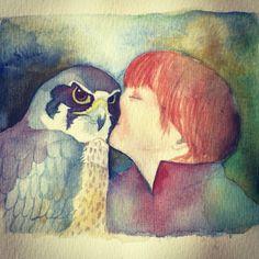 Love my pet! #birds #watercolor #illustration by Ati van Twillert